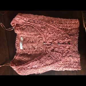Women's sheer button top sweater with lace detail